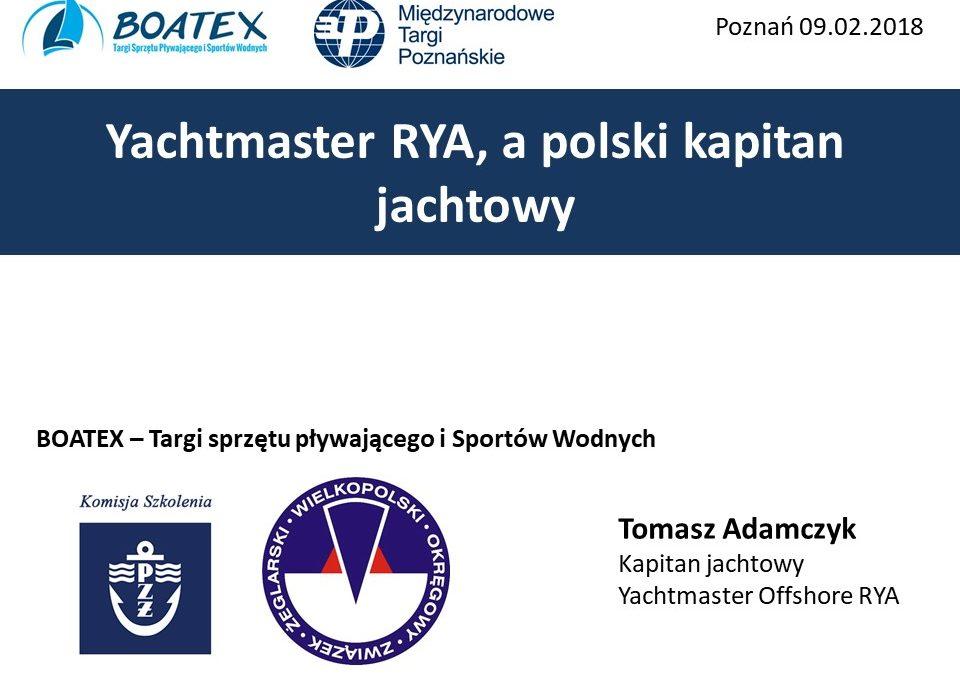Yachtmaster RYA, a polski kapitan jachtowy